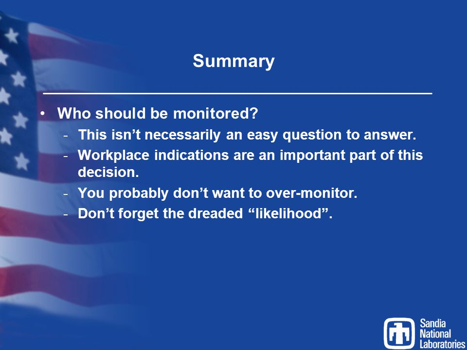 Summary Who should be monitored