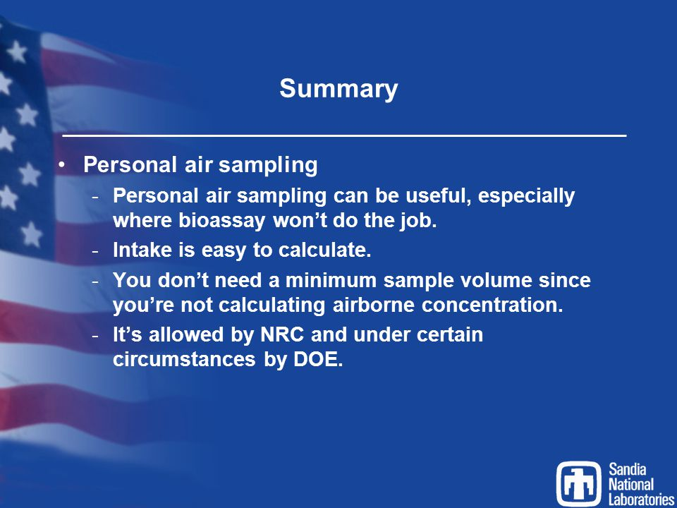 Summary Personal air sampling