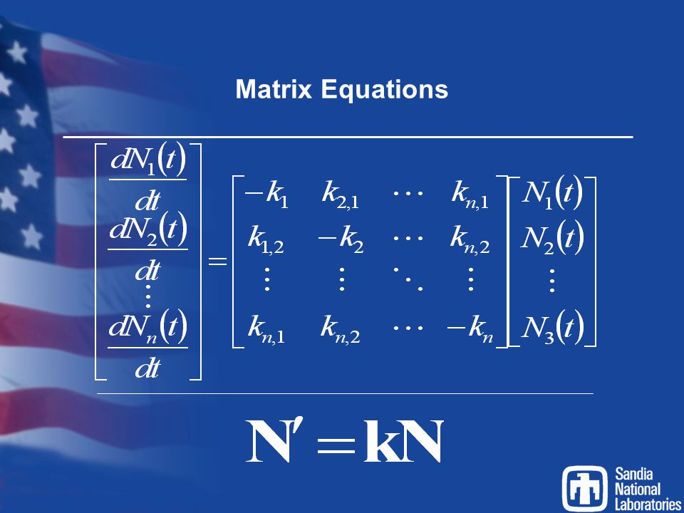 Matrix Equations Previous equations can be represented in matrix form. In matrix multiplication we multiply row by column.