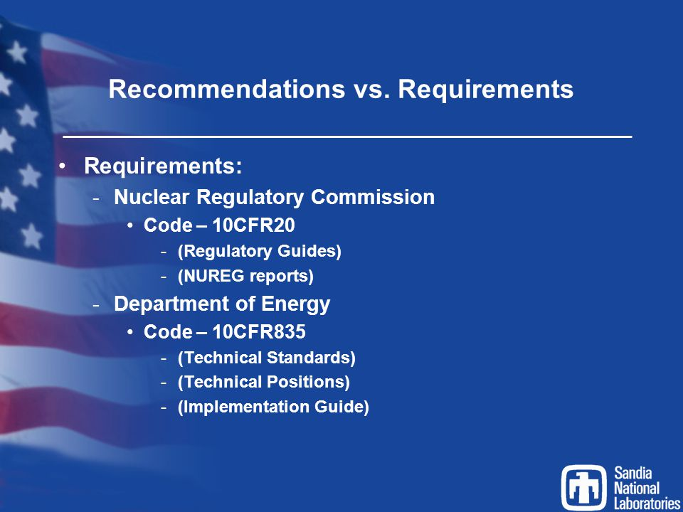 Recommendations vs. Requirements