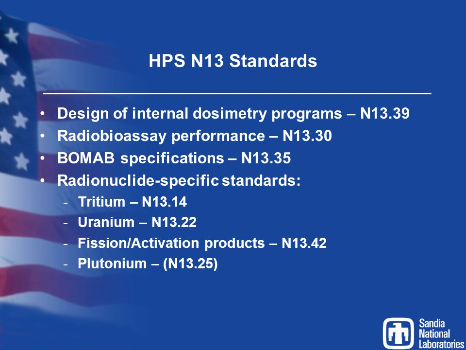 HPS N13 Standards Design of internal dosimetry programs – N13.39