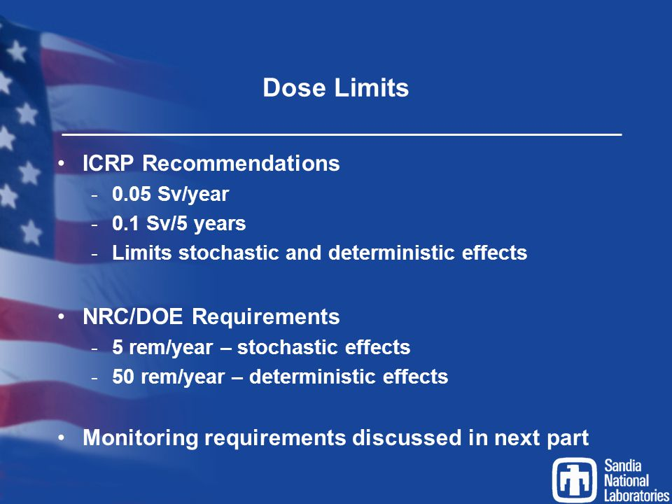 Dose Limits ICRP Recommendations NRC/DOE Requirements