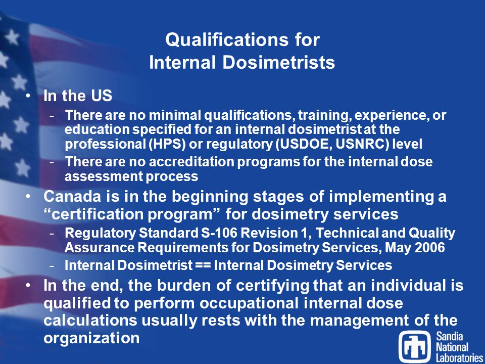 Qualifications for Internal Dosimetrists