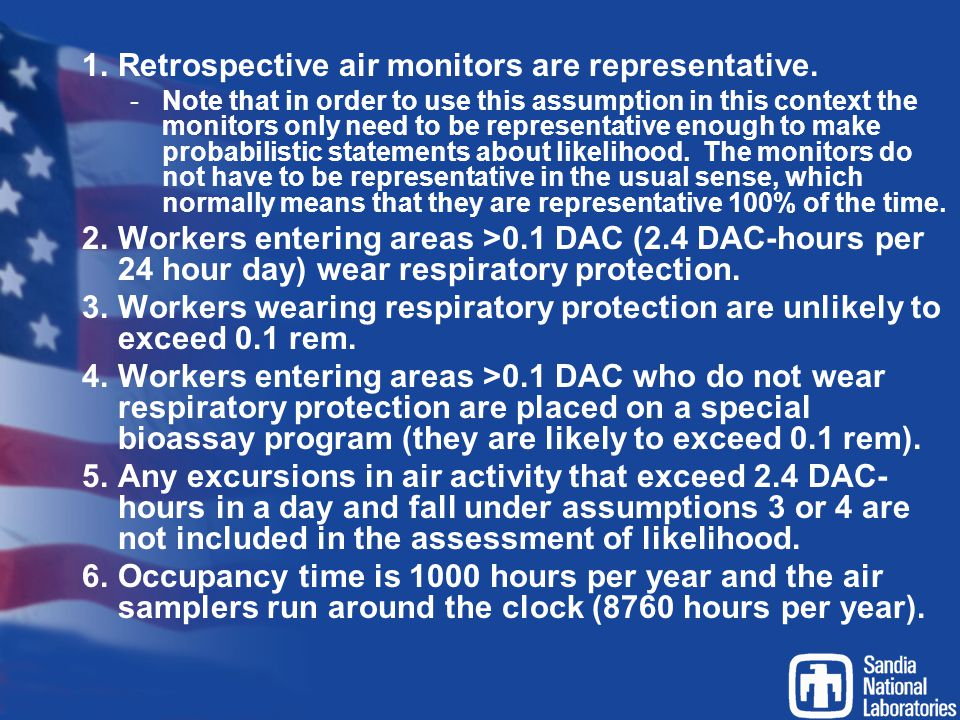 Retrospective air monitors are representative.