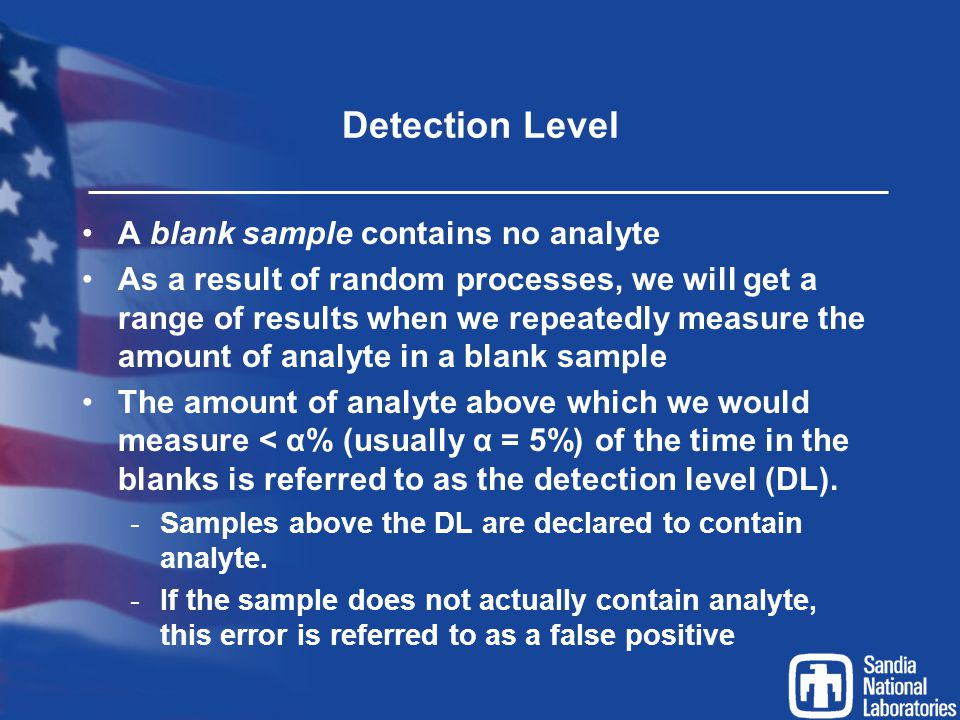 Detection Level A blank sample contains no analyte