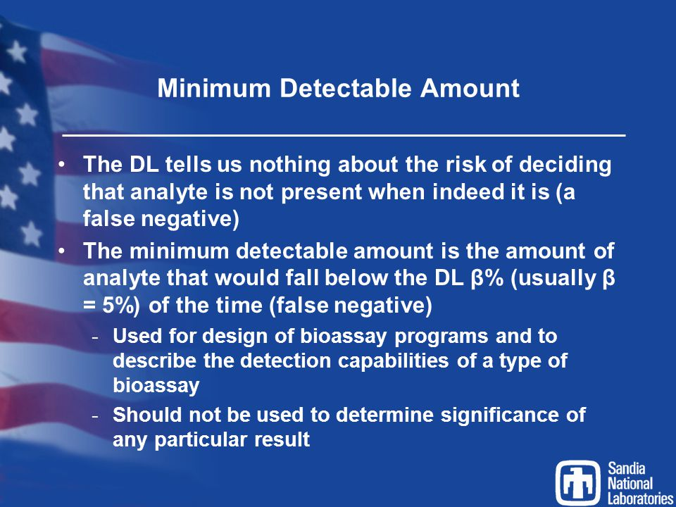 Minimum Detectable Amount