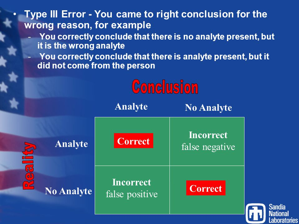 Type III Error - You came to right conclusion for the wrong reason, for example