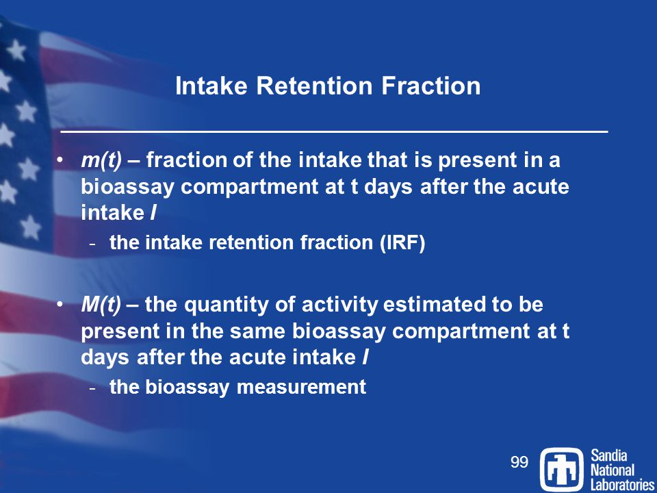 Intake Retention Fraction
