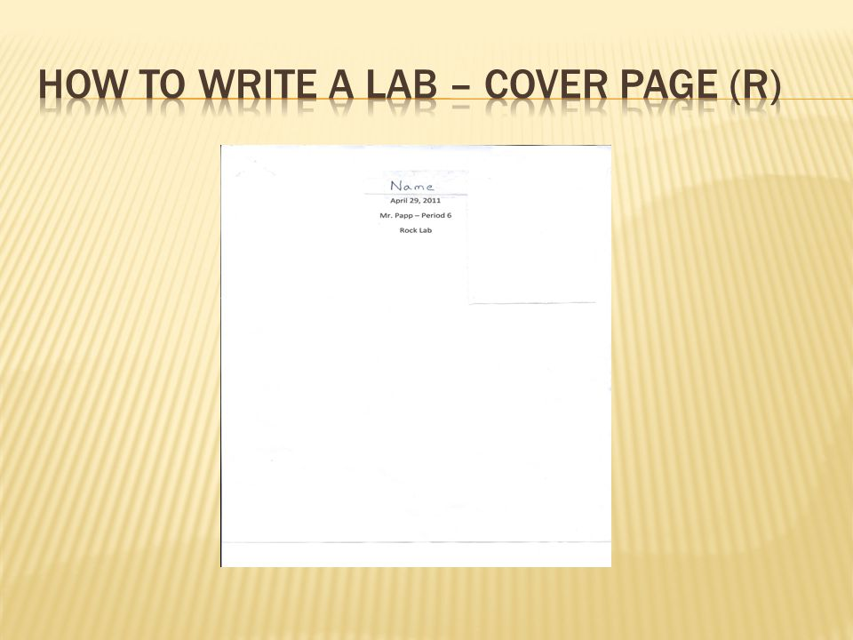 How to write a lab – cover page (R)