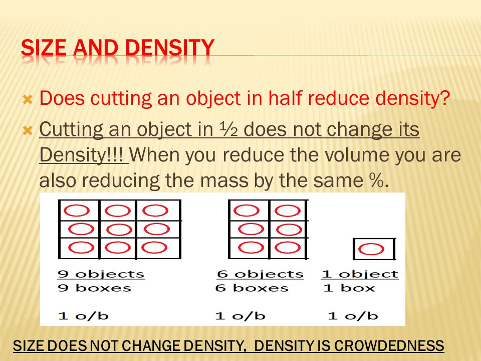 Size and Density Does cutting an object in half reduce density
