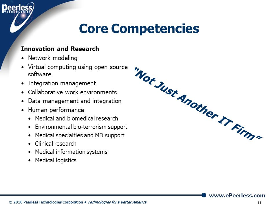 Core Competencies Not Just Another IT Firm Innovation and Research