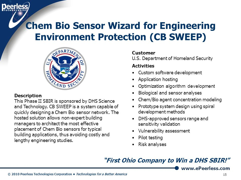 Chem Bio Sensor Wizard for Engineering Environment Protection (CB SWEEP)