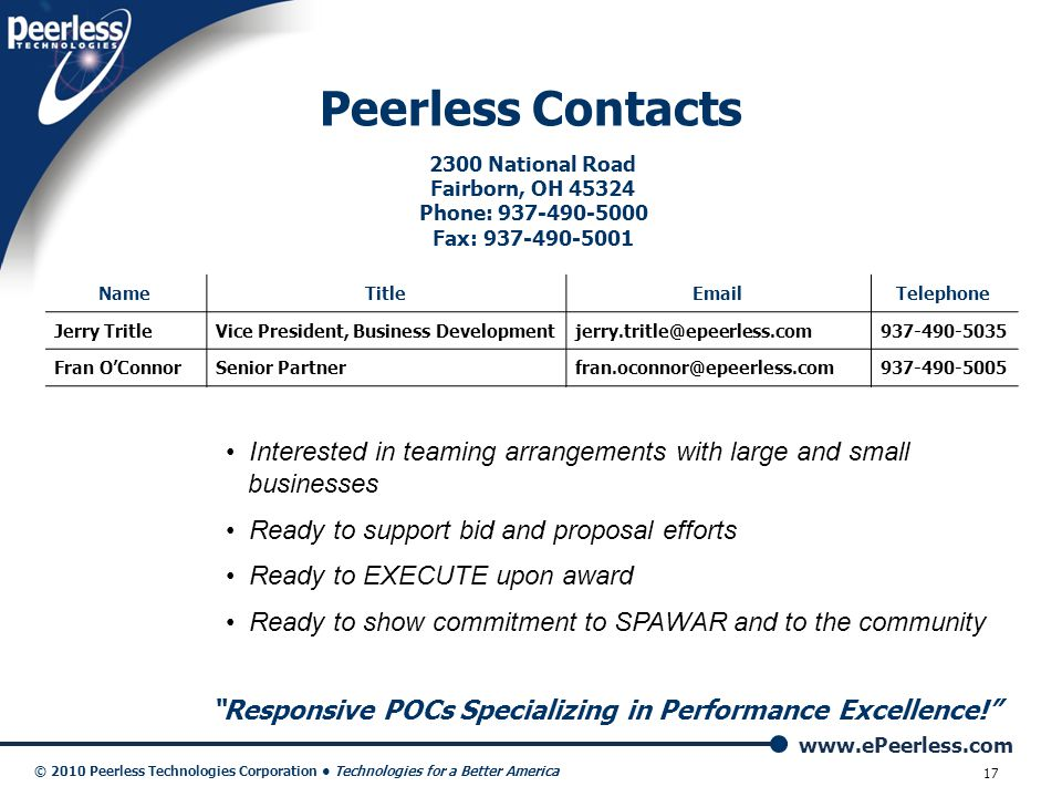 Peerless Contacts 2300 National Road. Fairborn, OH 45324. Phone: 937-490-5000. Fax: 937-490-5001.