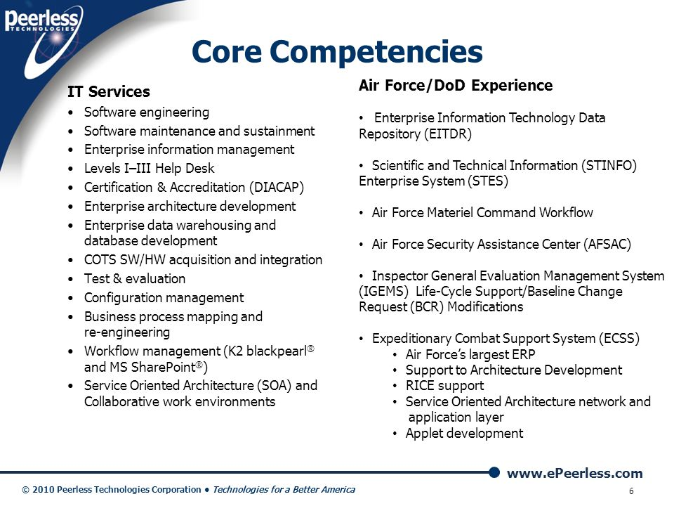 Core Competencies Air Force/DoD Experience IT Services