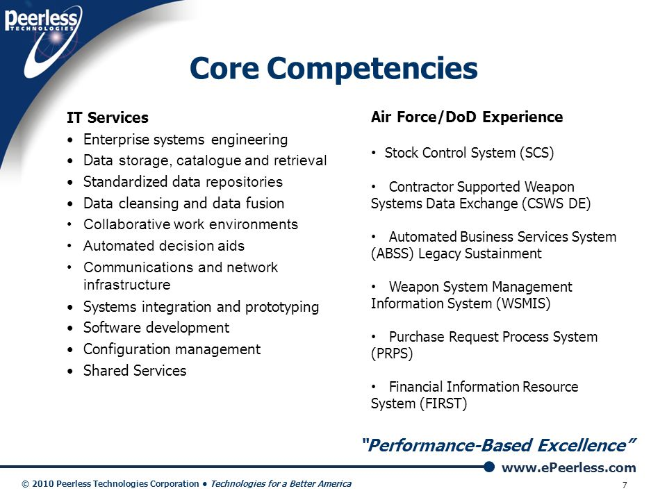 Core Competencies Performance-Based Excellence IT Services