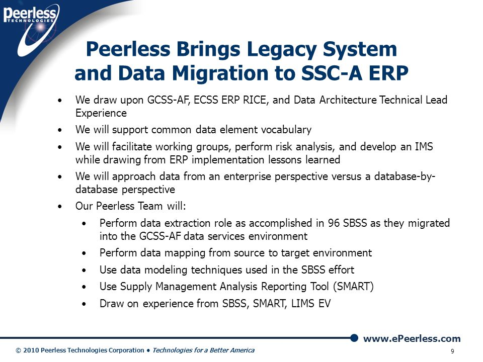 Peerless Brings Legacy System and Data Migration to SSC-A ERP