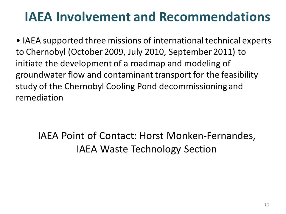 IAEA Involvement and Recommendations