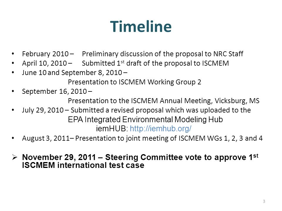 Timeline February 2010 – Preliminary discussion of the proposal to NRC Staff. April 10, 2010 – Submitted 1st draft of the proposal to ISCMEM.