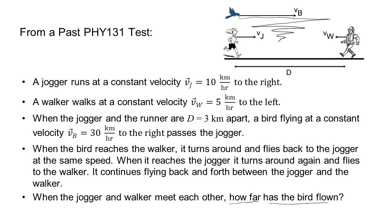 From a Past PHY131 Test: A jogger runs at a constant velocity 𝑣 𝐽 =10 km hr to the right.