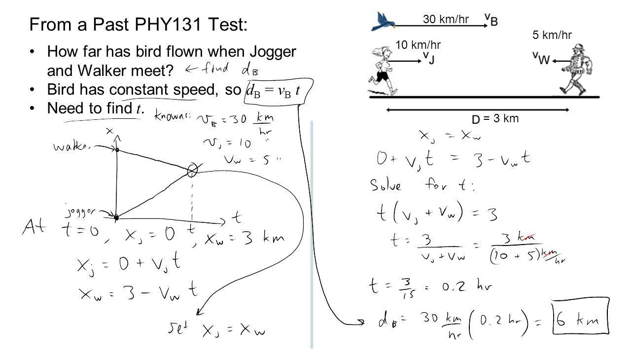 From a Past PHY131 Test: 30 km/hr. 5 km/hr. 10 km/hr. How far has bird flown when Jogger and Walker meet