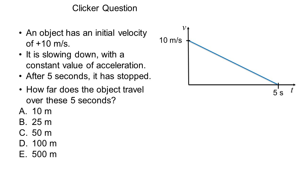 An object has an initial velocity of +10 m/s.