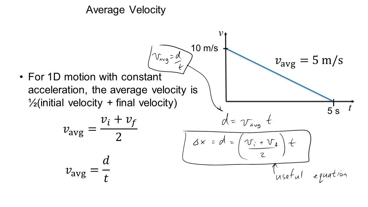 𝑣 avg =5 m/s 𝑣 avg = 𝑣 𝑖 + 𝑣 𝑓 2 𝑣 avg = 𝑑 𝑡 Average Velocity v