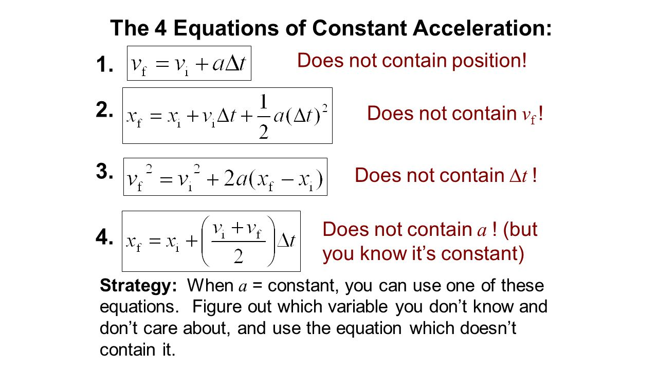 The 4 Equations of Constant Acceleration:
