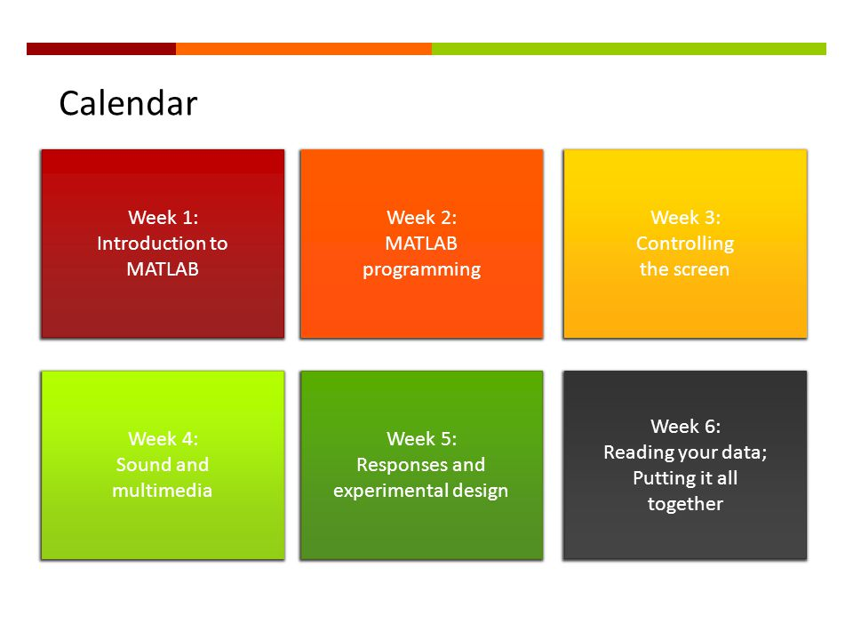 Calendar Week 1: Introduction to MATLAB Week 2: MATLAB programming