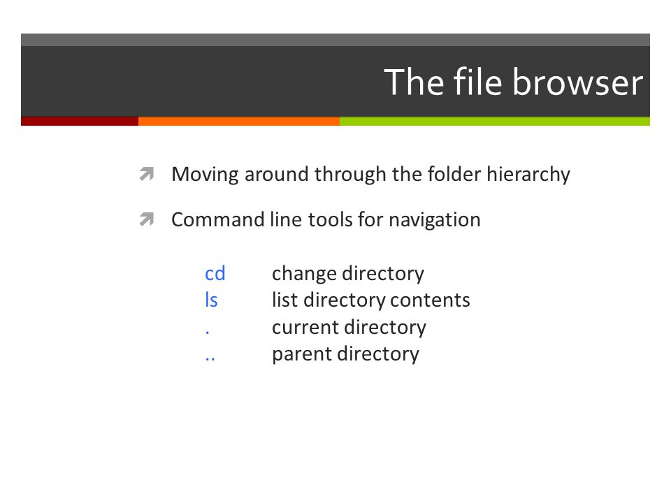 The file browser Moving around through the folder hierarchy