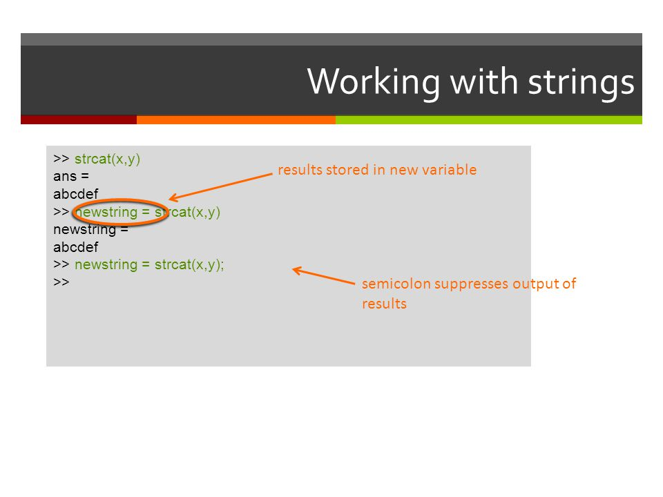 Working with strings results stored in new variable