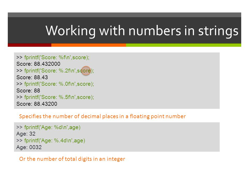Working with numbers in strings