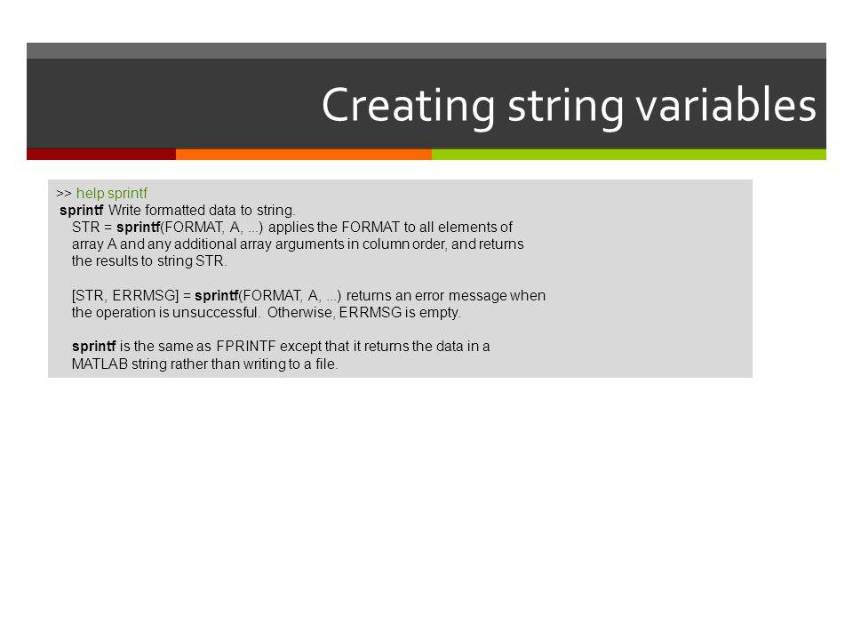 Creating string variables