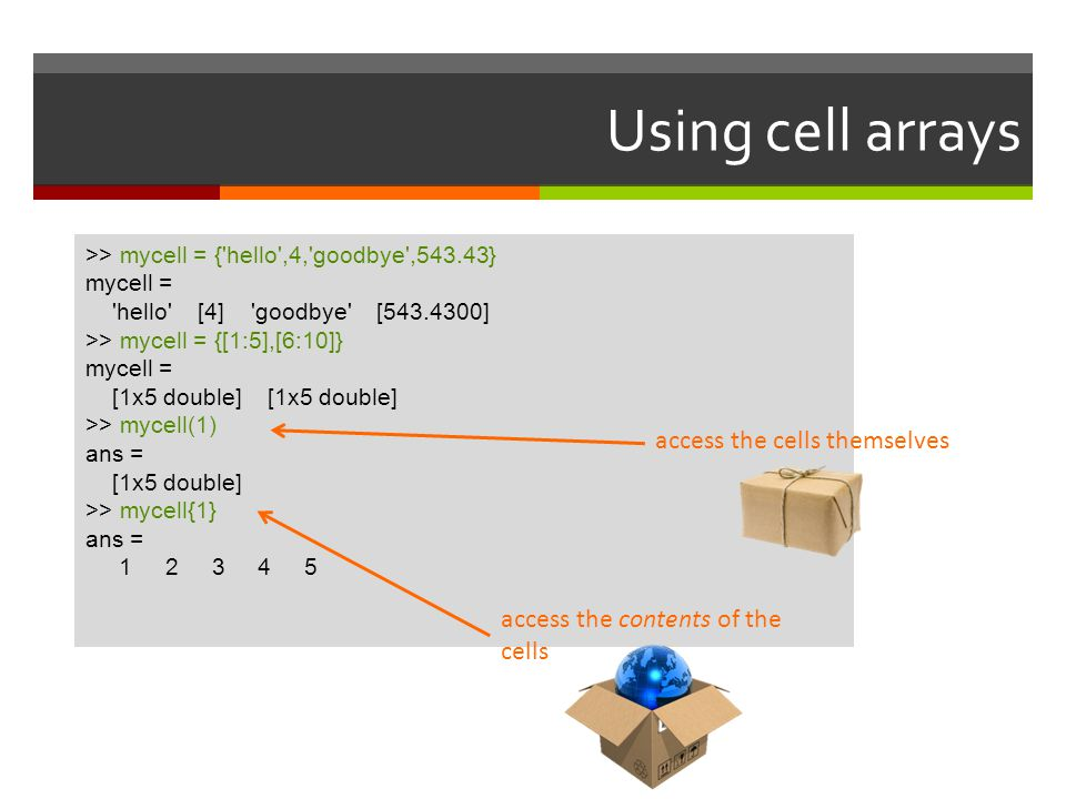 Using cell arrays access the cells themselves