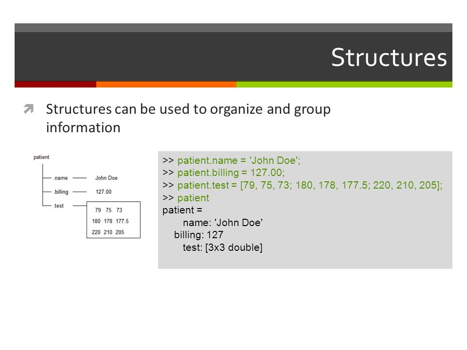 Structures Structures can be used to organize and group information