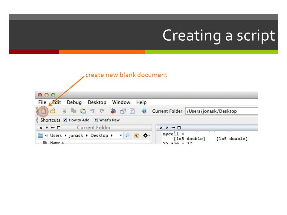 Creating a script create new blank document
