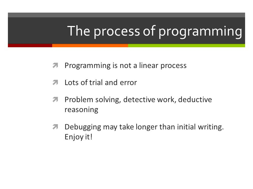 The process of programming