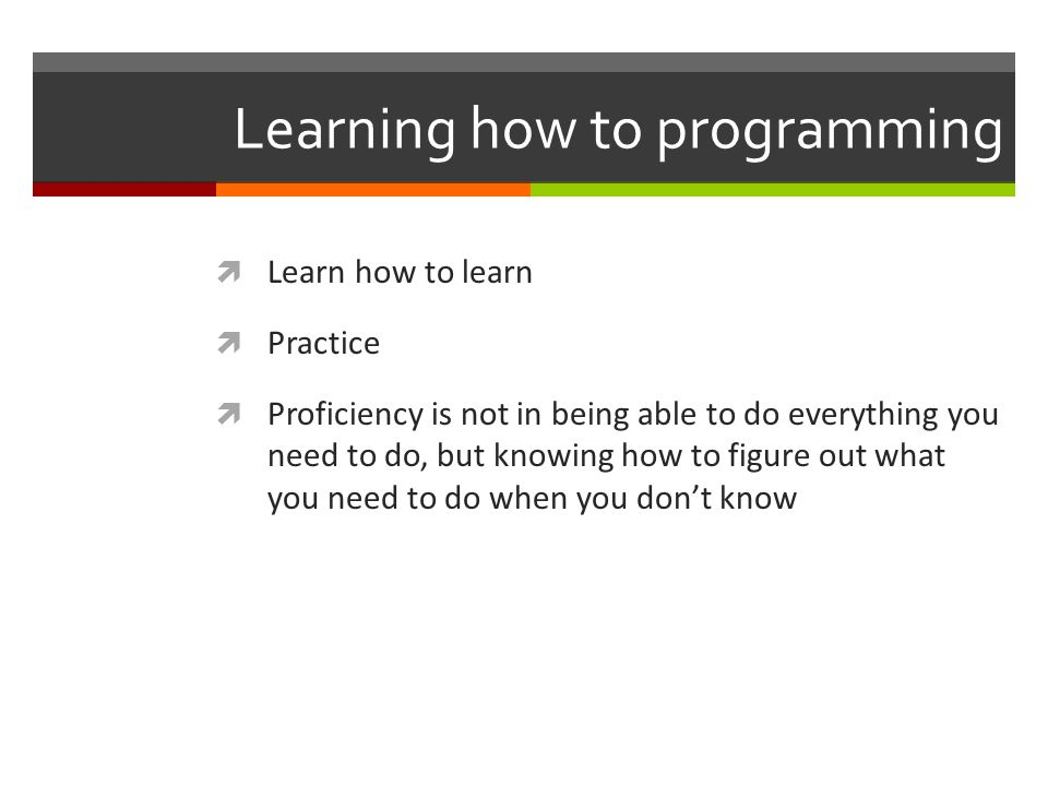 Learning how to programming