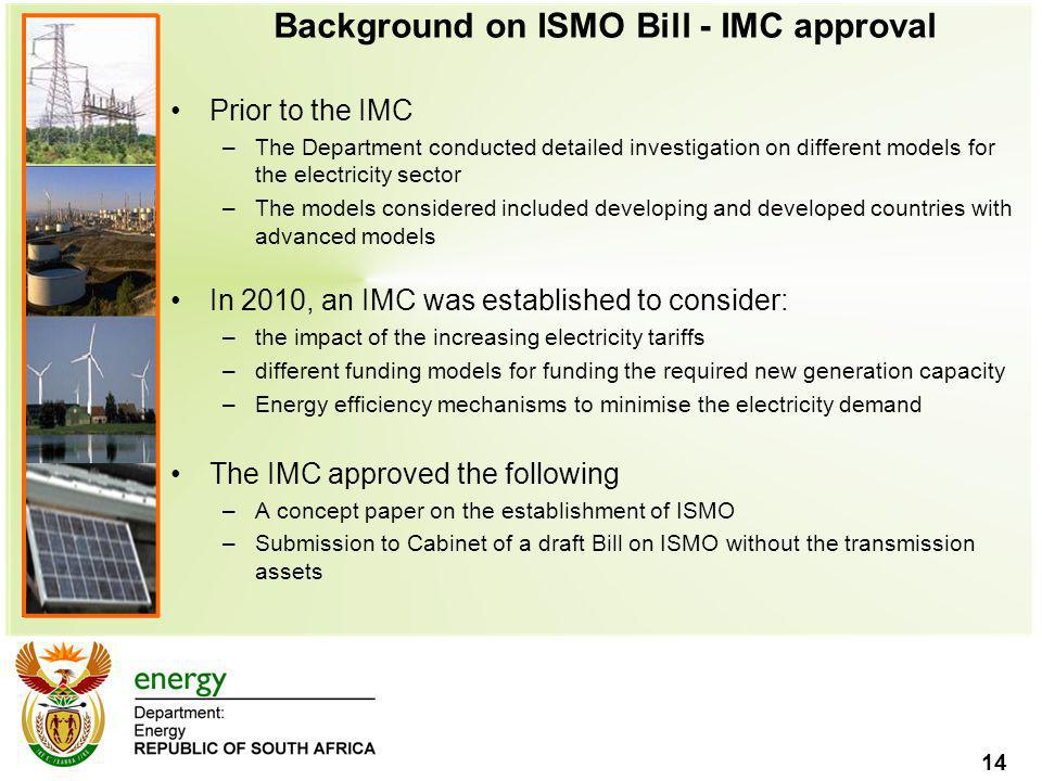 Background on ISMO Bill - IMC approval