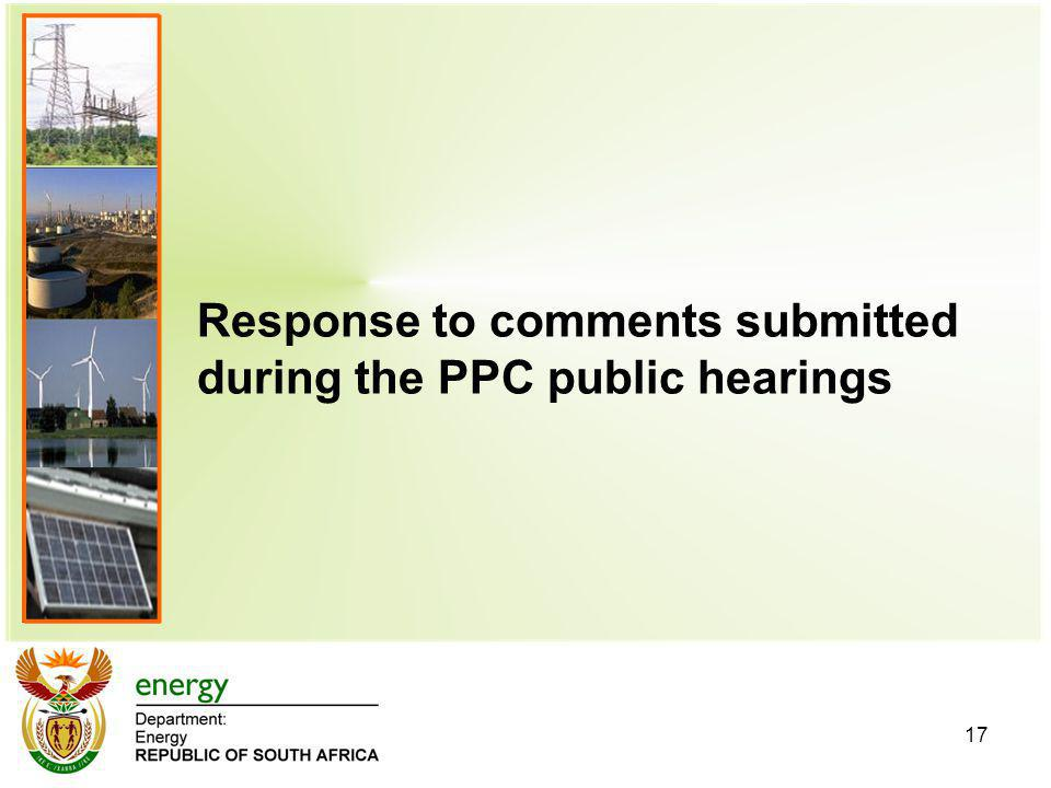Response to comments submitted during the PPC public hearings