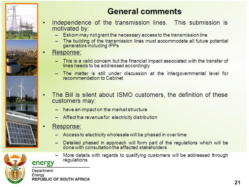 General comments Independence of the transmission lines. This submission is motivated by: