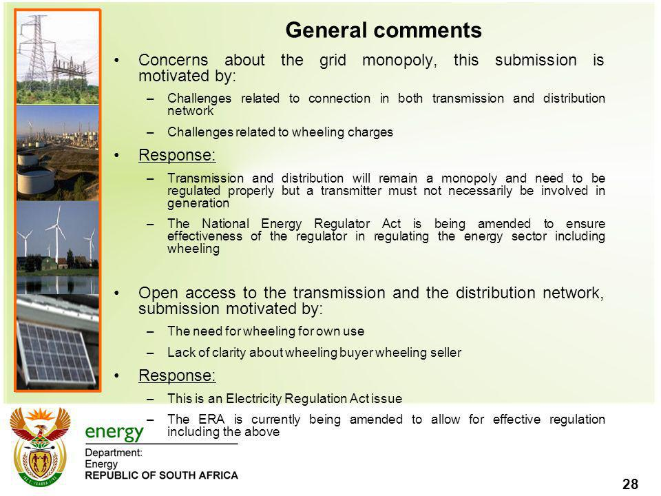 General comments Concerns about the grid monopoly, this submission is motivated by: