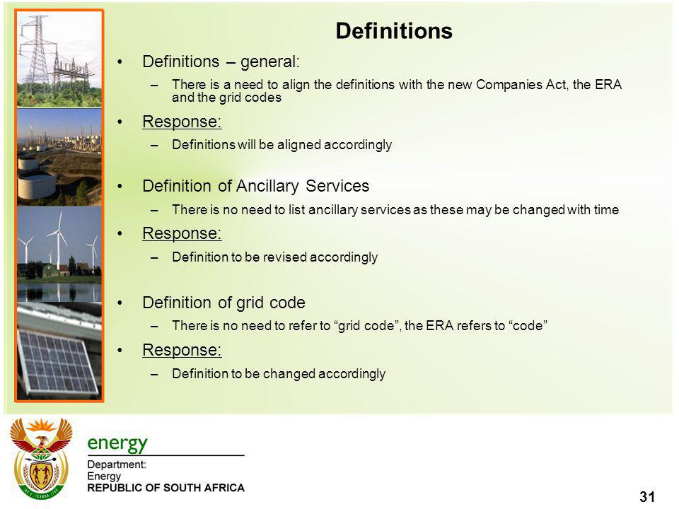 Definitions Definitions – general: Response:
