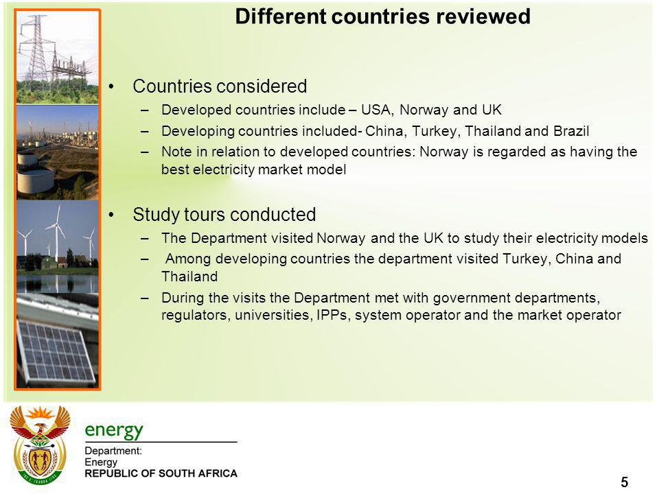 Different countries reviewed