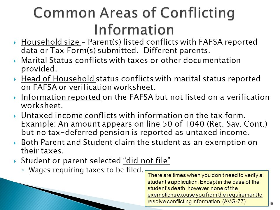 Common Areas of Conflicting Information