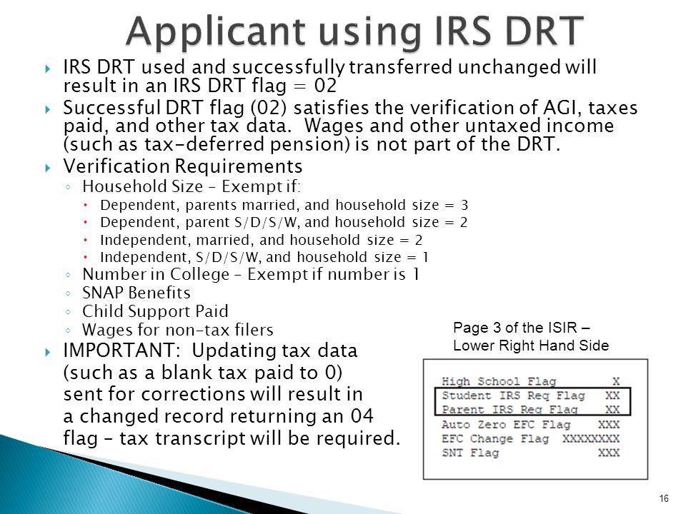 Applicant using IRS DRT