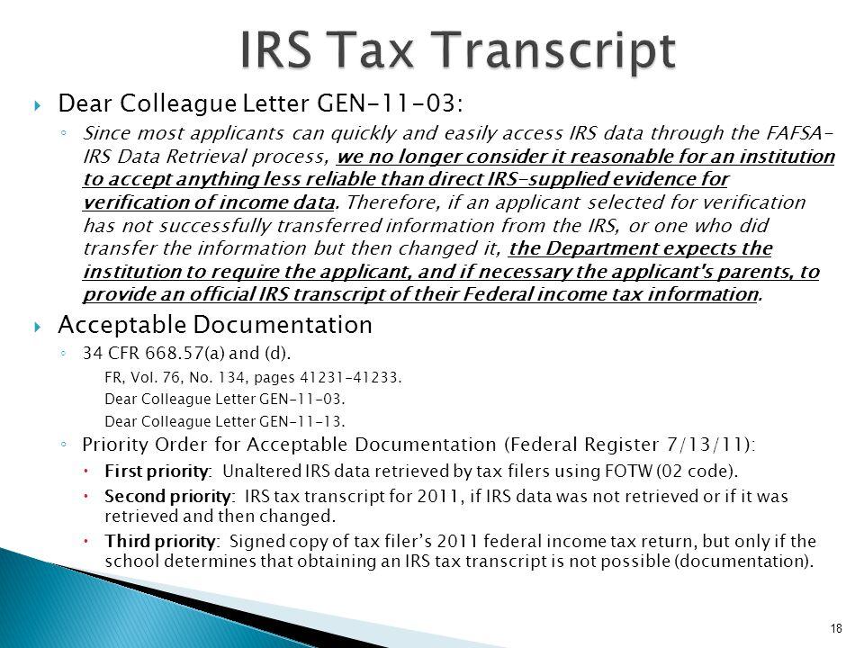 IRS Tax Transcript Dear Colleague Letter GEN-11-03: