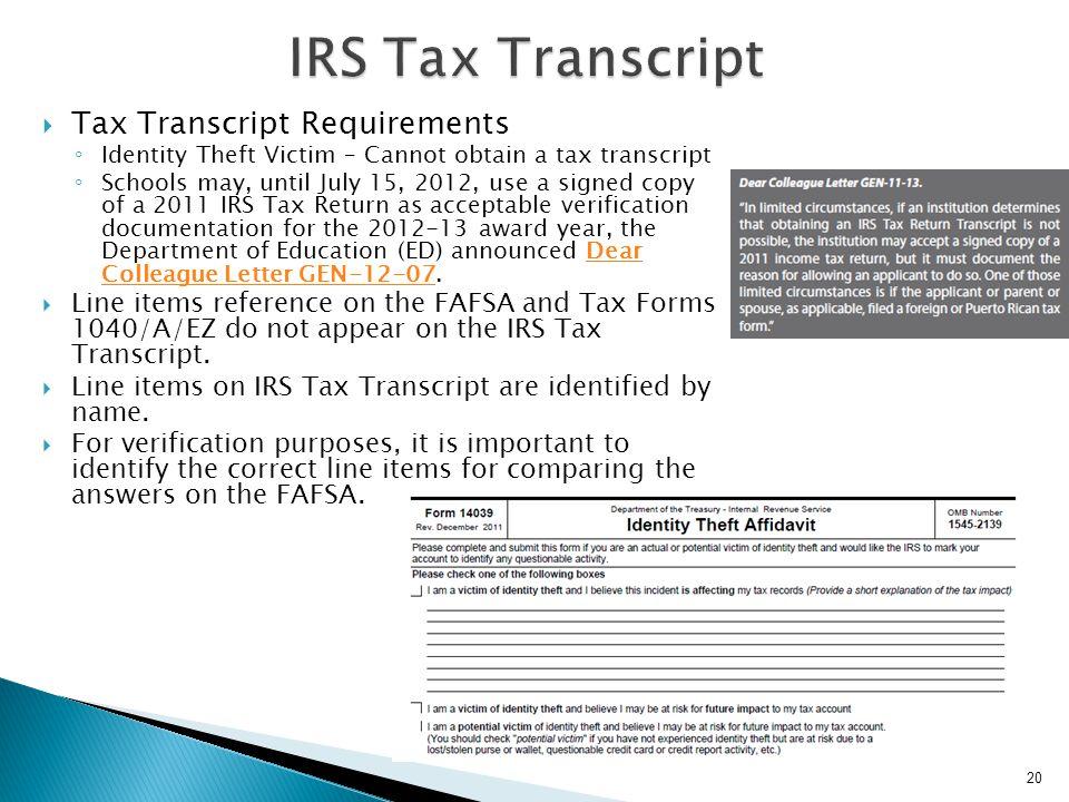 IRS Tax Transcript Tax Transcript Requirements