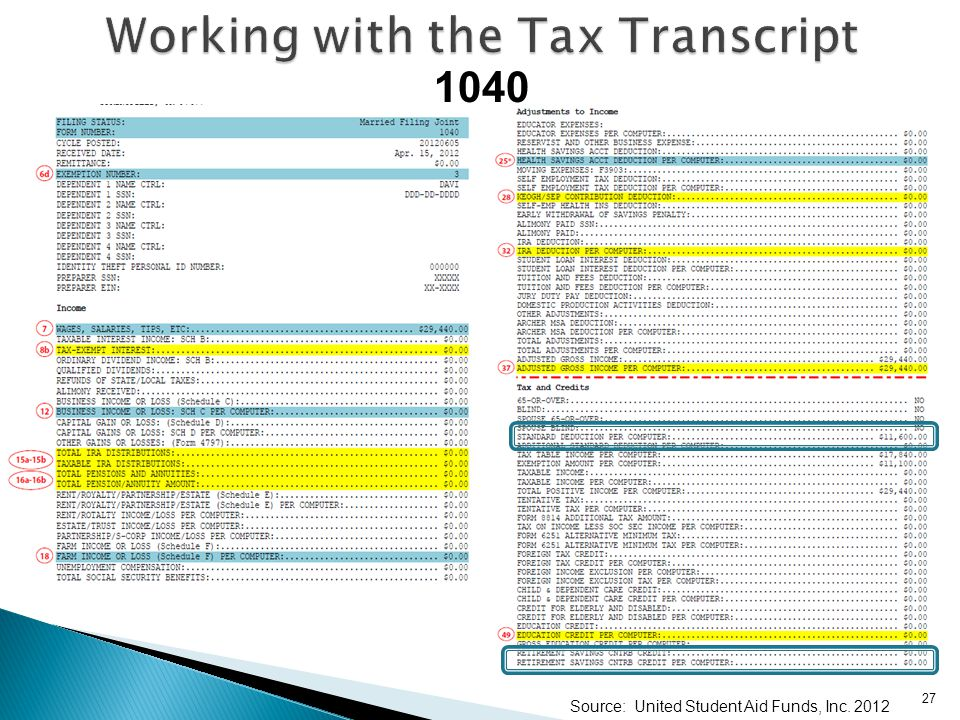 Working with the Tax Transcript