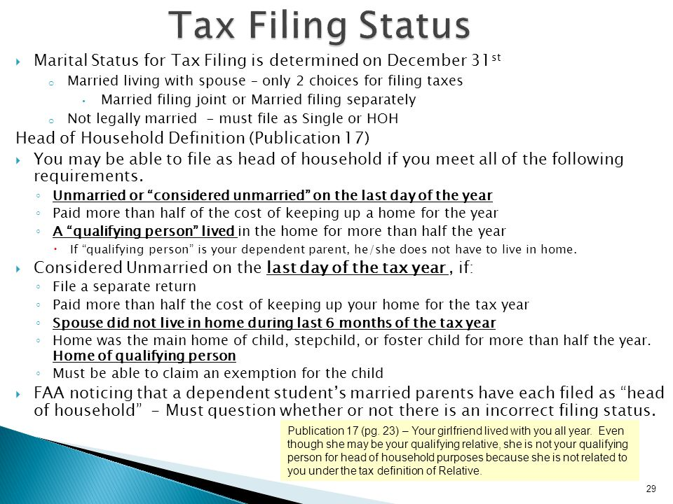Tax Filing Status Marital Status for Tax Filing is determined on December 31st. Married living with spouse – only 2 choices for filing taxes.