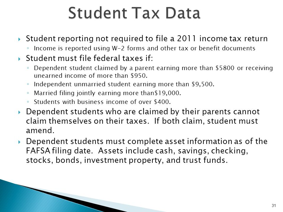 Student Tax Data Student reporting not required to file a 2011 income tax return.
